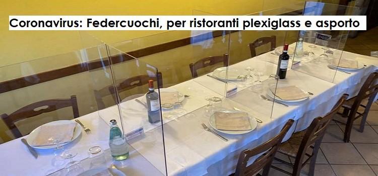 Coronavirus: Federcuochi, per ristoranti plexiglass e asporto