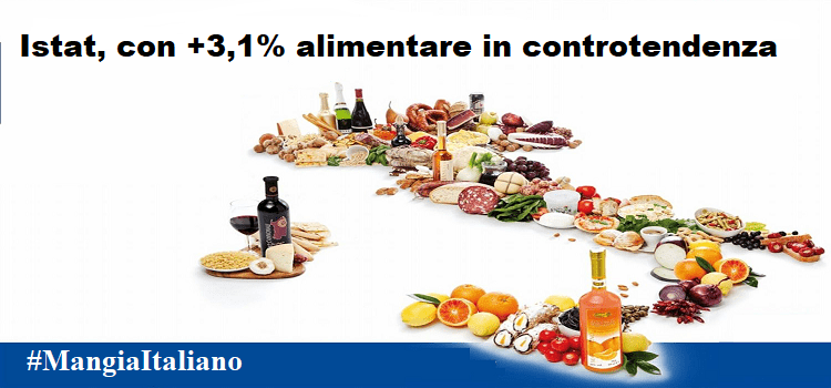 Istat, con +3,1% alimentare in controtendenza