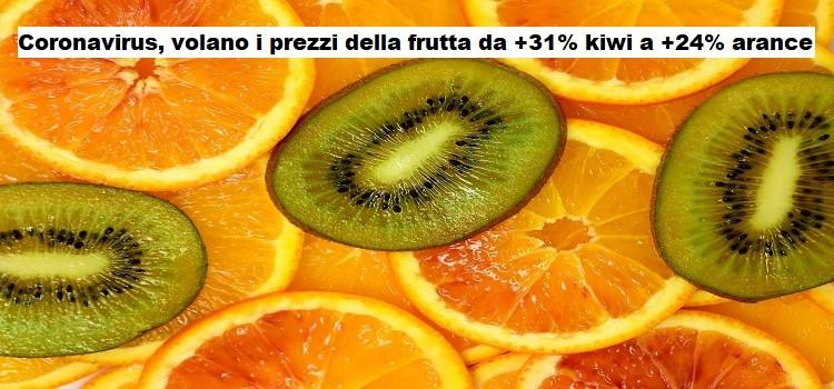Coronavirus, volano i prezzi della frutta da +31% kiwi a +24% arance