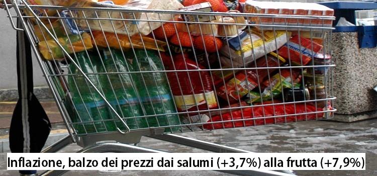 Inflazione, balzo dei prezzi dai salumi (+3,7%) alla frutta (+7,9%)